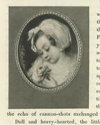 Antique Gorgeous Girl Child Rose Gossamer Dress Oval Miniature Small Old Print