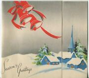 Vintage Christmas Turquoise Color Church House Village Trees Snow Greeting Card