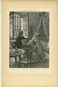 Antique Victorian Lamp Light Table Open Window Day Bed Girl Fainting Art Print