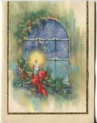 Vintage Christmas Blue Window Church Snow Candle Pine Cones Holly Greeting Card