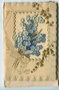 Antique Christmas Embossed Forget Me Nots Gold Lily Of The Valley Greeting Card