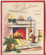 Vintage Christmas Fireplace Yew Branch Berries Toy Model Mast Ship Greeting Card