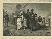 Antique Nautical Stormy Mother Child Infant Policeman Deserted Helping Art Print