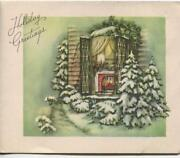 Vintage Christmas Evergreen Trees Snow Window Hearth Candles Green Greeting Card