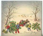 Vintage Christmas Holly Tree Farm Picking Red Berries Village Snow Greeting Card