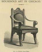 Antique Library Arm Chair Household Art Chicago Miniature Paper Old Art Print