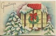 Vintage Christmas Bay Window Snow Covered Evergreen Trees Wreath Greeting Card