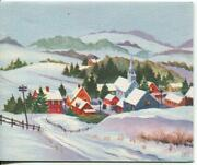 Vintage Christmas Country Village Town Mountain Valley Snow Church Greeting Card