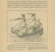 Antique French France Royal Navy Galley Ship Flags Pavilions Nautical Old Print