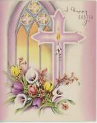 Vintage Pink White Cross Church Window Lily Tulips Candle Easter Card Art Print