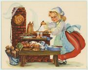 Vintage Coffee Pot Fruit Bread Cook Oven Sausage 1 Teddy Bear Girl Country Card