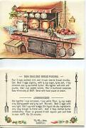 Vintage Oven Coffee Pot Hourglass Bread Pudding Print 1 Picnic Village Card