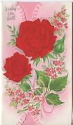 Vintage Bright Red Roses Garden Flowers Pink Forget Me Nots Cheer Greeting Card