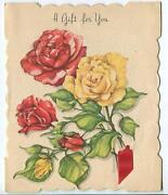 Vintage Garden Flowers Yellow Red Roses Botanical Lithograph Greeting Card Print
