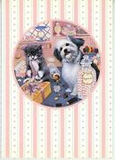 Candy Store Shop Scale Lollipop Tuxedo Cat Lhasa Apso Puppy Dog Greeting Card
