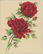 Vintage Country Garden Red Roses Flowers Green Leaves Gorgeous Card Print