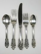 5 Pc Place Setting Wallace Grande Baroque Sterling Silver Place Size