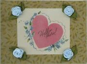 Vintage Pink Hello Heart Forget Me Not Print Roses On Antique Paper Aceo Size