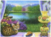 Aceo Bengal Cat Kitten Blueberry Pie Gone With The Wind Lamp Pond Garden Print