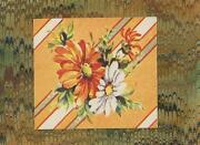 Vintage Orange White Daisy Flowers Metaphysical Print On Antique Paper Aceo Size