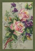 Vintage Roses Violets Print On Aceo Size Antique Paper Gold Dust Collage Picture