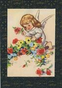 Vintage Angel Girl Roses Lithograph Art Print On Antique Aceo Size Old Paper