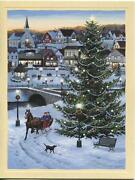 1 Christmas Country Store Tree Horse Sleigh Black Lab Dog Card 1 Thistle Card