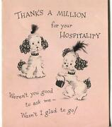Vintage Art Deco Cute French Poodle Dogs Dog Bone Mid Century Art Greeting Card
