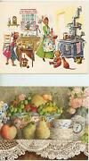 1 Lang Teacup Card And Vintage Chef Cook Rice Pudding Cranberry Pie Recipes Print