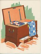 Vintage Dovetailed Wood Hope Dowry Chest Quilts Linens Paper Card Art Print