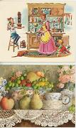 1 Lang Teacup Card And 1 Vintage Cook Chef Johnnycakes Shepherds Pie Recipes Print