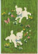 Vintage Sheep White Lamb Butterfly Garden Flowers Lithograph Old Card Art Print