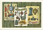 Vintage Butcher Baker Candle New England Brown Bread Recipe Print 1 Duck Card