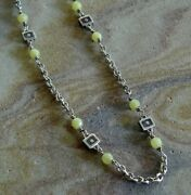 Sterling Silver Light Green Gemstone Station Rolo Chain Layering Necklace 19