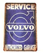 Volvo Tin Metal Poster Sign Vintage Rustic Style Sales And Service Man Cave Garage