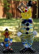 2 Murano Italy Glass Clowns Large 14 Tall And Small 6.5 Confetti Lot Figurines
