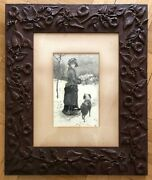 Very Rare Gorgeous Hand Carved Floral Victorian Frame / Signed/ 19th Century