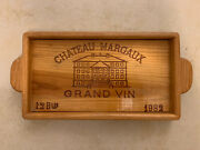 Vintage Antique Wood Wine Crate Serving Tray Chateau Margaux Grand Vin 1982
