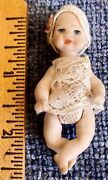Vintage Miniature Tiny Doll All Bisque For Dollhouse