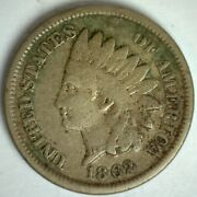 1862 Indian Head Cent 1c Us Penny Coin Good Copper Nickel Philadelphia Minted