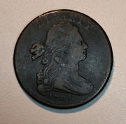 1798 Draped Bust Large Cent S-166 Very Late Die State Die Crack Very Fine Vf