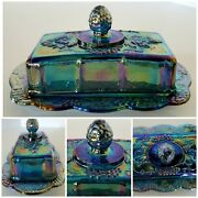 Vintage Indiana Blue Carnival Glass Iridescent Harvest Grape Butter Dish W/lid