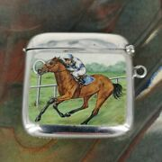Antique Match Can In Silver With Rare Enamel Painting