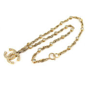 Rhinestone Pendant Coco Mark Long Necklace Gold Vintage Accessories Chain