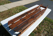 Rare Antique 19th C. Mid-late 1800s Wooden Sled Wrought Iron Runners Pegged