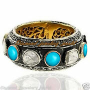 Victorian 2.78ct Rose Antique Cut Diamond Turquoise Silver Eternity Ring Jewelry
