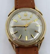 Bulova Accutron Watch 10k Gold Filled Bezel And Stainless Steel Leather Running
