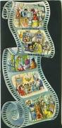 Vintage Christmas Faux Film Reel General Store Kitchen Cooking Dinner Piano Card
