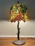 Style Flowering Lotus Stained Slag Glass Lamp W/ Dome Shade