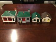O Scale - Vintage Plasticville - Fire House Police And Houses. 4 Buildings.